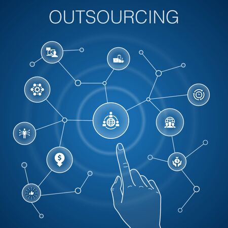 outsourcing concept, blue background.online interview, freelance, business process, outsource team icons
