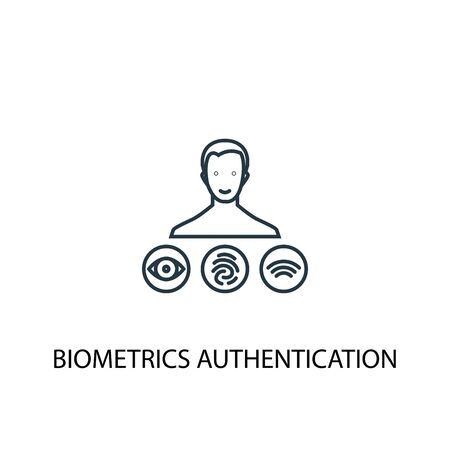 Biometrics authentication concept line icon. Simple element illustration. Biometrics authentication concept outline symbol design. Can be used for web and mobile