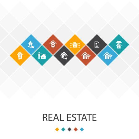 Real Estate trendy UI template infographics concept. Property, Realtor, location, icons 向量圖像