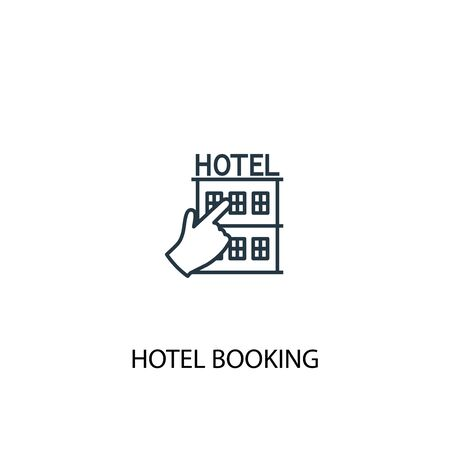 hotel booking concept line icon. Simple element illustration. hotel booking concept outline symbol design. Can be used for web and mobile