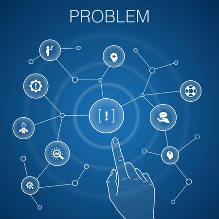 problem concept, blue background.solution, depression, analyze, resolve icons