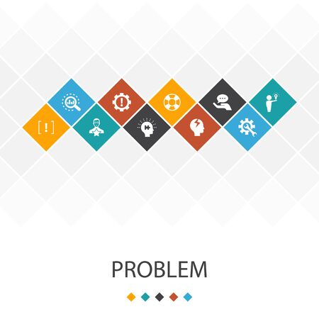 problem trendy UI template infographics concept. solution, depression, analyze, icons Illustration
