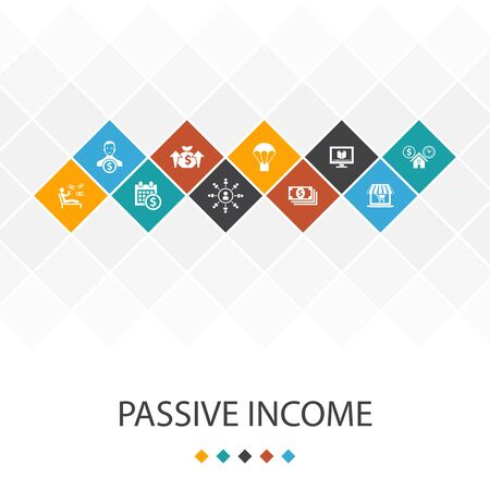 passive income trendy UI template infographics concept. affiliate marketing, dividend income, online store, rental icons Illustration