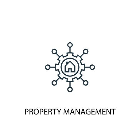 Property management concept line icon. Simple element illustration. Property management concept outline symbol design. Can be used for web and mobile Standard-Bild - 130220877