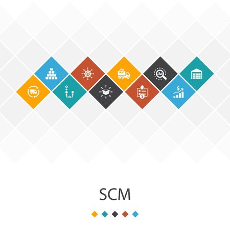 SCM trendy UI template infographics concept. management, analysis, distribution, icons