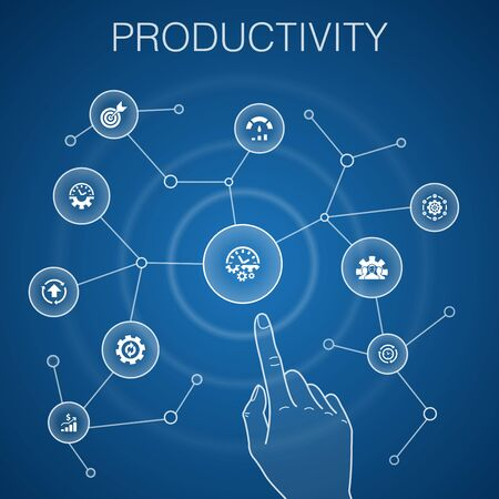 Productivity concept, blue background.performance, goal, system, process icons