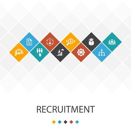 recruitment trendy UI template infographics concept. career, employment, position, icons Иллюстрация
