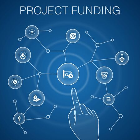 project funding concept, blue background.crowdfunding, grant, fundraising, contribution icons