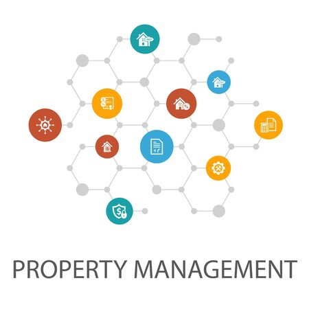 property management presentation template, cover layout and infographics. leasing, mortgage, security deposit, icons
