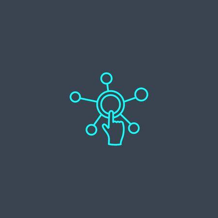 icône de la ligne bleue du concept de numérisation. Élément mince simple sur fond sombre. conception de symbole de contour de concept de numérisation. Peut être utilisé pour le Web et le mobile