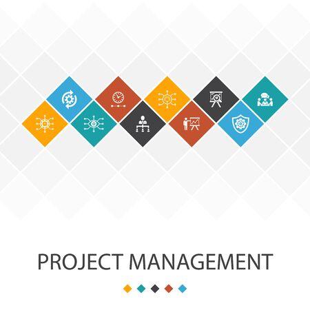 Project management trendy UI template infographics concept. Project presentation, Meeting, workflow, icons Illusztráció