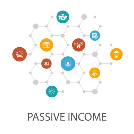 passive income presentation template, cover layout and infographics. affiliate marketing, dividend income, online store, rental icons