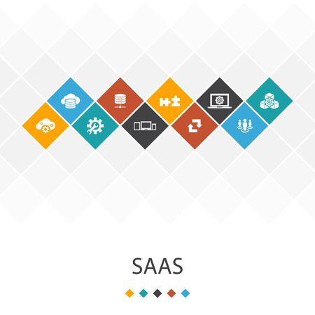 SaaS trendy UI template infographics concept. cloud storage, configuration, software, icons