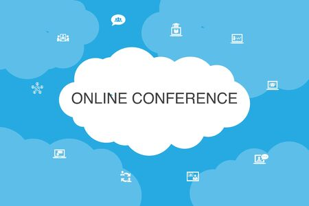 online conference Infographic cloud design template.group chat, online learning, webinar, conference call icons