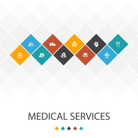 Medical services trendy UI template infographics concept.Emergency, Preventive care, patient Transportation, Prenatal icons
