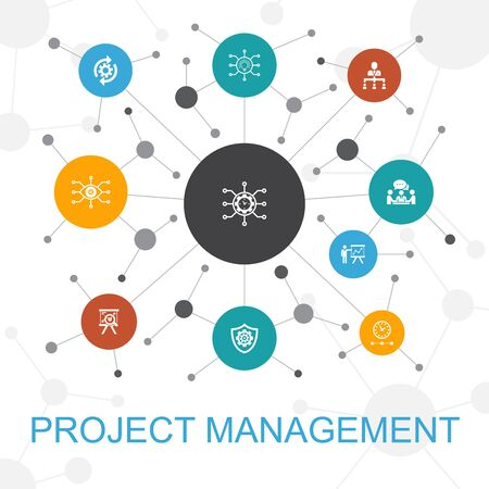 Project management trendy web concept with icons. Contains such icons as Project presentation, Meeting, workflow Illusztráció