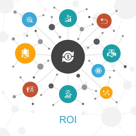 ROI trendy web concept with icons. Contains such icons as investment, return, marketing