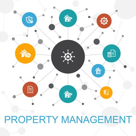 property management trendy web concept with icons. Contains such icons as leasing, mortgage, security deposit