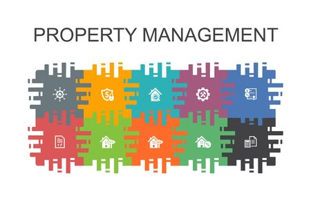 property management cartoon template with flat elements. Contains such icons as leasing, mortgage, security deposit