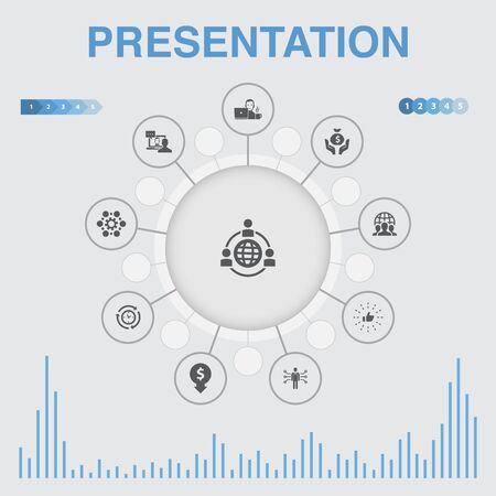 presentation infographic with icons. Contains such icons as lecturer, topic, business presentation