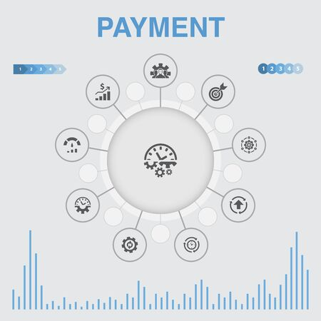 payment infographic with icons. Contains such icons as Invoice, money, bill