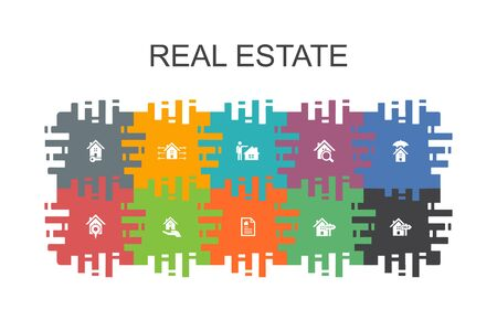 Real Estate cartoon template with flat elements. Contains such icons as Property, Realtor, location