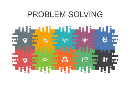 problem solving cartoon template with flat elements. Contains such icons as analysis, idea, brainstorming