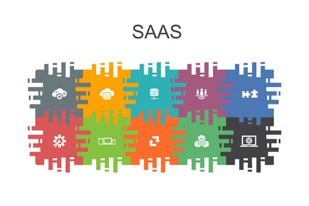 SaaS cartoon template with flat elements. Contains such icons as cloud storage, configuration, software Иллюстрация