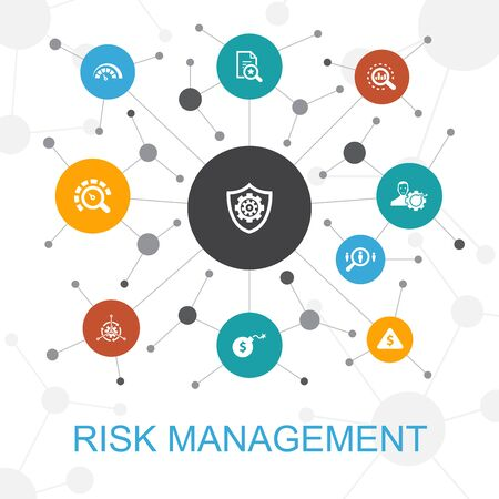 concept web tendance de gestion des risques avec des icônes. Contient des icônes telles que contrôle, identification, niveau de risque Vecteurs