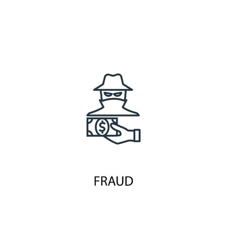 fraud concept line icon. Simple element illustration. fraud concept outline symbol design. Can be used for web and mobile Çizim