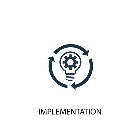 Implementierungssymbol. Einfache Elementabbildung. Implementierungskonzept Symboldesign. Kann für Web verwendet werden