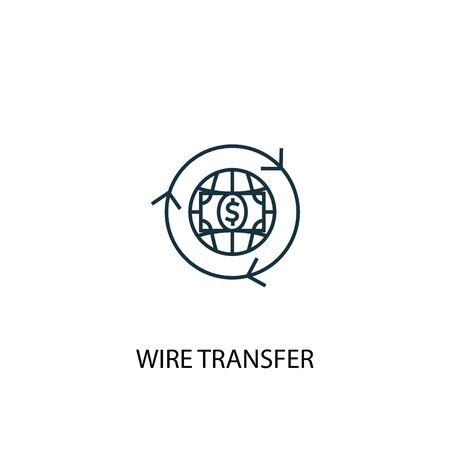 icona della linea del concetto di bonifico bancario. Illustrazione semplice dell'elemento. disegno di simbolo di struttura di concetto di trasferimento di filo. Può essere utilizzato per web e mobile Vettoriali