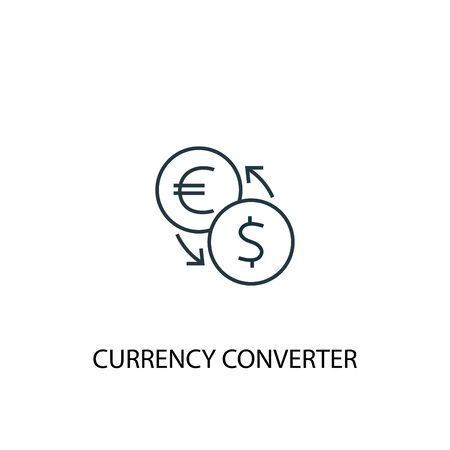 currency converter concept line icon. Simple element illustration. currency converter concept outline symbol design. Can be used for web and mobile Foto de archivo - 130221927