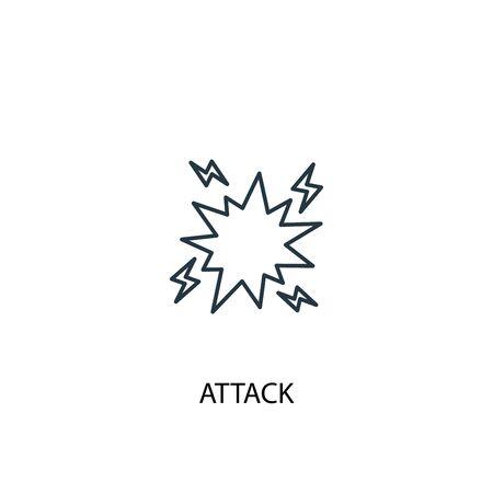 attack concept line icon. Simple element illustration. attack concept outline symbol design. Can be used for web and mobile Vektorgrafik