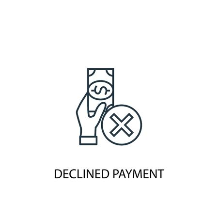 declined payment concept line icon. Simple element illustration. declined payment concept outline symbol design. Can be used for web and mobile
