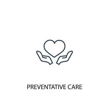 Preventive care concept line icon. Simple element illustration. Preventive care concept outline symbol design. Can be used for web and mobile
