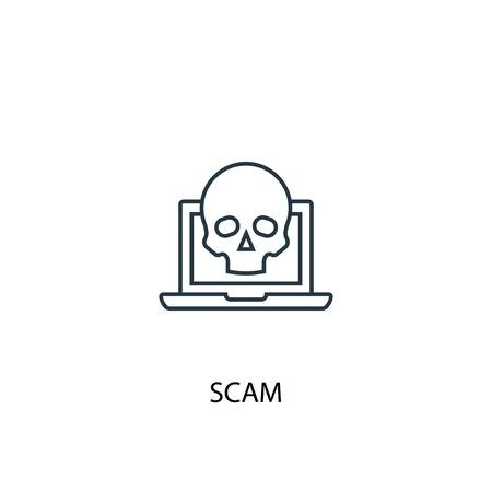 scam concept line icon. Simple element illustration. scam concept outline symbol design. Can be used for web and mobile