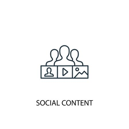 social content concept line icon. Simple element illustration. social content concept outline symbol design. Can be used for web and mobile Ilustração