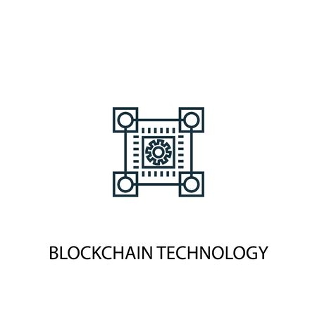blockchain technology concept line icon. Simple element illustration. blockchain technology concept outline symbol design. Can be used for web and mobile