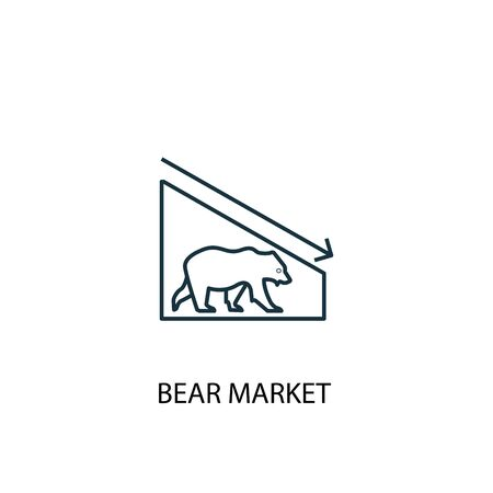 Bear Market concept line icon. Simple element illustration. Bear Market concept outline symbol design. Can be used for web and mobile