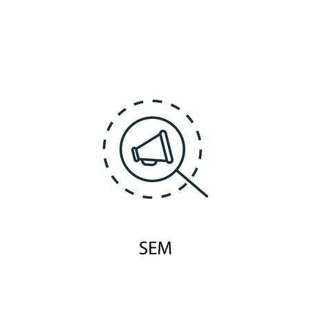 SEM concept line icon. Simple element illustration. SEM concept outline symbol design. Can be used for web and mobile