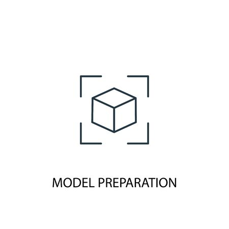 model preparation concept line icon. Simple element illustration. model preparation concept outline symbol design. Can be used for web and mobile Иллюстрация