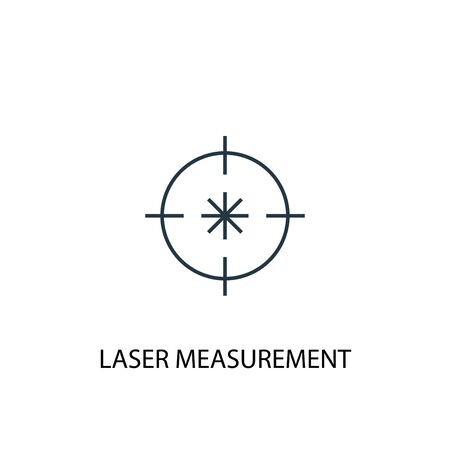 Laser measurement concept line icon. Simple element illustration. Laser measurement concept outline symbol design. Can be used for web and mobile Çizim