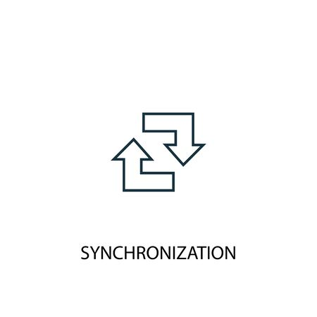 synchronization concept line icon. Simple element illustration. synchronization concept outline symbol design. Can be used for web and mobile