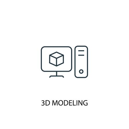 3d modeling concept line icon. Simple element illustration. 3d modeling concept outline symbol design. Can be used for web and mobile