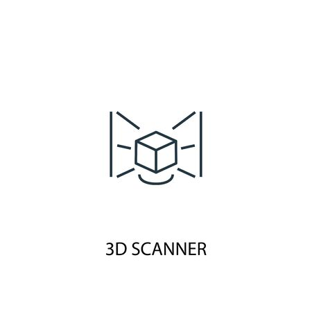 3d scanner concept line icon. Simple element illustration. 3d scanner concept outline symbol design. Can be used for web and mobile