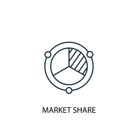 market share concept line icon. Simple element illustration. market share concept outline symbol design. Can be used for web and mobile