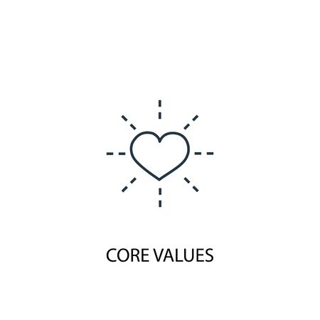 Core values concept line icon. Simple element illustration. Core values concept outline symbol design. Can be used for web and mobile Illusztráció