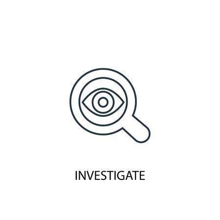 indagare sull'icona della linea di concetto. Illustrazione semplice dell'elemento. indagare il design del simbolo del contorno del concetto. Può essere utilizzato per web e mobile