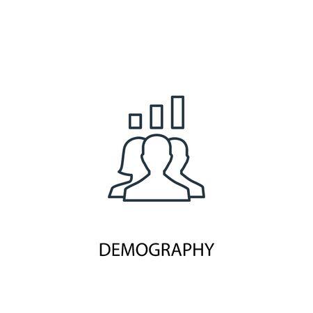 icono de línea de concepto de demografía. Ilustración de elemento simple. diseño de símbolo de esquema de concepto de demografía. Se puede utilizar para web y móvil.
